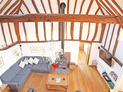 Photo for A luxury, fabulously restored listed Barn on a Weald farm 37 mins from London