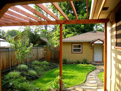 Pergola over the path to the Cottage front door