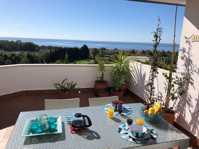 Photo for Apartment sea view, golf and mountain, 400 m from the sea