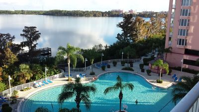 View from our balcony of Blue Heron pool and lake Bryan