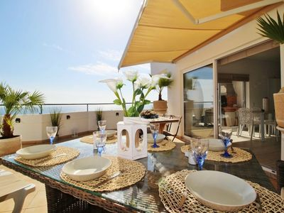 Photo for AMAZING PENTHOUSE SEA VIEW 110m2-5mns beach & close all shops on foot
