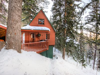 Photo for Walk to Eagle Express Lift! The Nellie Log Cabin w/ Mountain Views & Fire Pit