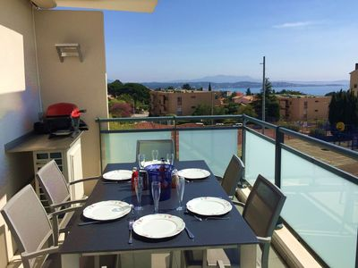 Photo for Superb T3 luxury residence with swimming pool, garage, air conditioning, sea view terrace, wifi