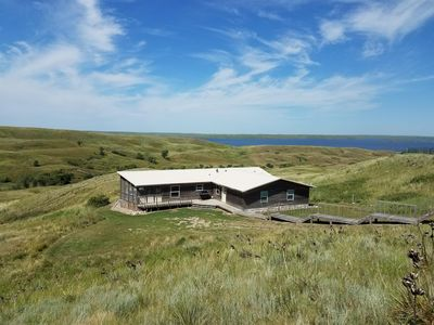Lodge on the Missouri River Hilly Banks.  View of River, Draw & Hillsides.