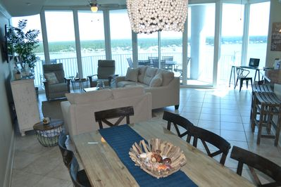 Newly redecorated open concept living