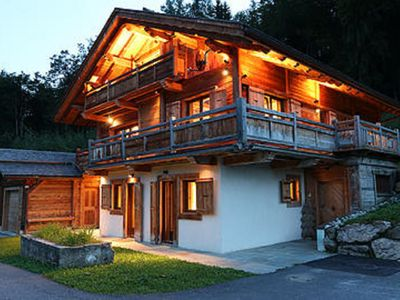 Photo for New luxury chalet in old wood, true wellness and views of Mt Blanc