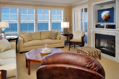 Our beautiful living room has Bose sound, DVD player and gas fireplace.