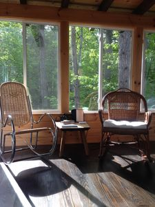 comfy rocking chairs on 3 season porch (photo taken in summer).