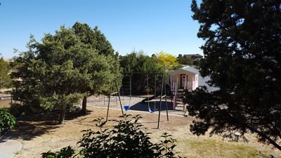 kid's playground in fenced area