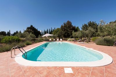 The swimming pool looking towards the villa