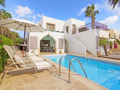 Photo for Modern Villa, Private Pool, Sea Views in the Pretty Harbour Town of Pernera just 200 m to the Beach!