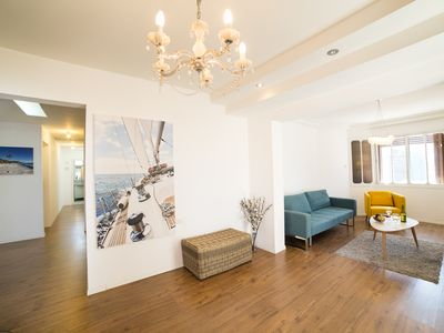 Photo for Beautiful spacious 2 bedroom apartment, with a balcony, 2 min walk to the beach