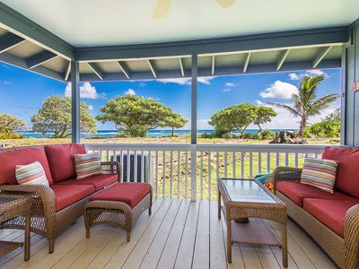 Photo for Hale Makai Beachfront Home, AC, Bamboo Flooring, Oceanfront on Anahola Bay