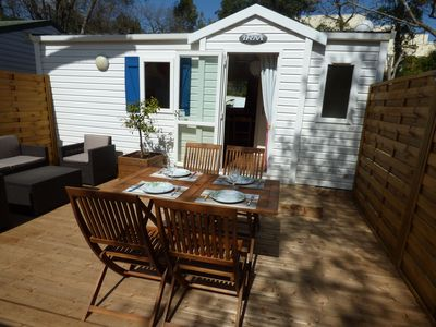 Photo for Mobile home 4 persons terrace, air-conditioned, 600m beach, near MARINELAND