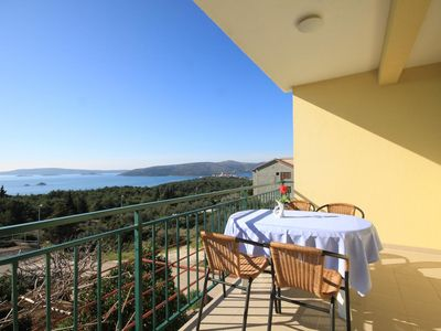 Photo for Two bedroom apartment with terrace and sea view Seget Vranjica, Trogir (A-8618-a)