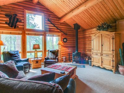 Photo for Cozy log home in the woods w/ views & easy access to the slopes and hiking!