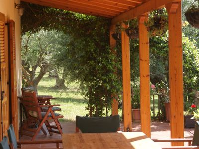 Photo for Renovated traditional farmhouse overlooking the sea, WIFI, 400 olive trees