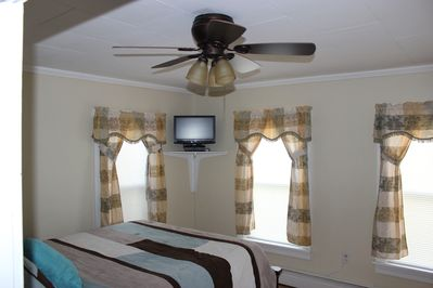Bedroom one with Queen size bed (view 1)