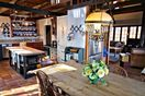 Barn style open plan, chic-antique timber-frame details, SubZero fridge