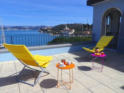 Photo for Sweet attic with terraces overlooking the Gulf of Poets center Le Grazie Portovenere