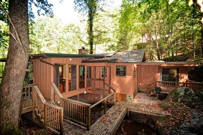 The Waterfall Cabin features the waterfall that runs under the cabin, plenty of deck space to rest and enjoy.