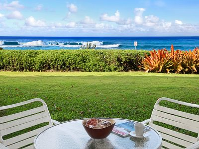 Photo for Poipu Kapili #02: Oceanfront Views with AC & Close to shops and Dining!