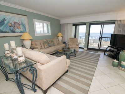 Photo for Beachfront Condo with 12th Floor Views! Large Private Balcony. Beachfront Pool and Onsite Tennis!