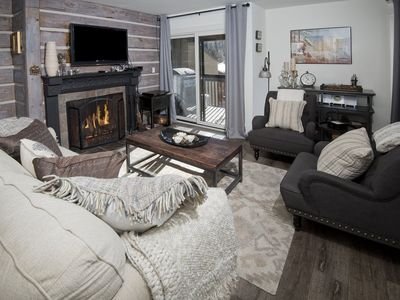 Photo for An affordable condo rental at Vail 21 in Lionshead Village with mountain views, hot tub and wood fir
