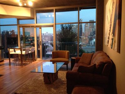 Fantastic views of downtown Denver, Union Station, and Coors field from the kitchen, dining room, and living room.