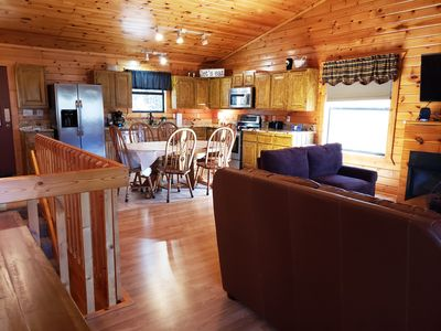 Photo for Luxurious 3 bdrm cabin, great location, great low rates! Pool table & Hot tub, secluded!