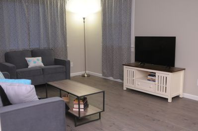 A quiet, clean living room to relax in after a day at Cedar Point!