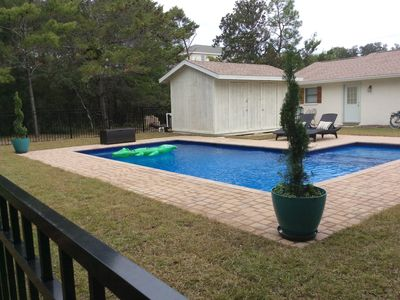 Photo for Clean one story beach cottage w/heated pool.Walk to 30A beaches & restaurants.