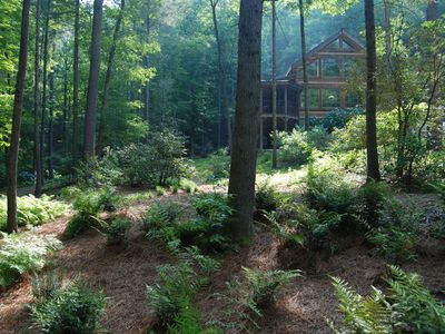 Enchanting Brooksong Log Cabin, TWO large waterfalls, 6 private acres, 4 streams
