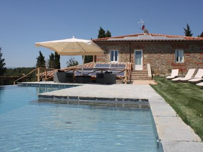 Photo for Stunning private villa with WIFI, private pool, TV, patio, washing machine, panoramic view, parking