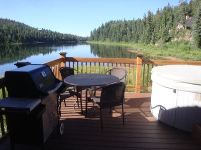 Deck overlooking lake, private hot tub, gas grill, beauty day or night