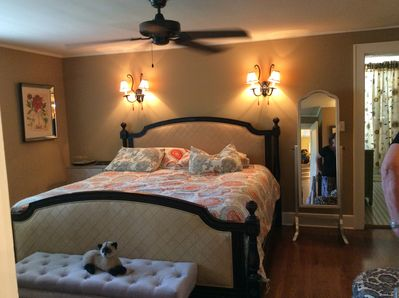 king bed with private bath and laundry