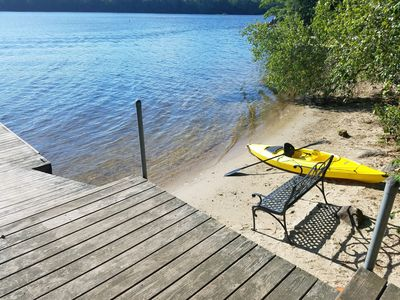 View of beach from dock.  Kayak and Canoe included
