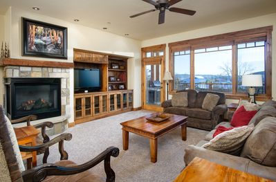 Living Room with gas fireplace and spectacular mountain views.