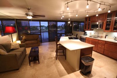 Kuhio Shores 204 Kitchen Living room with a view of the Ocean