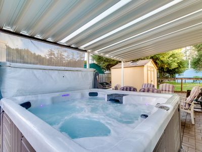 Photo for Gorgeous valley views, a private hot tub & close to the beach!
