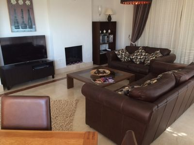 Chill out in front of the large flat screen on our cumfi leather sofas
