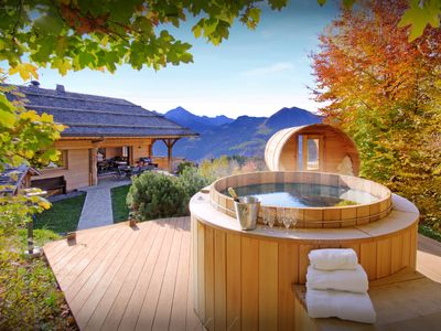 Photo for Relax in the hot tub or sauna at this unique 5 star chalet - OVO Network