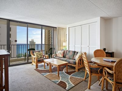 Photo for Darmic Waikiki Banyan: Part Ocean View  |  25th floor  |  1 bdrm  | FREE wifi and parking  | AC | Quality amenities | Only 5 mins walk to the beach!