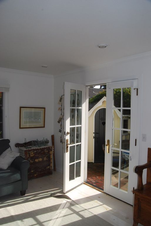 Sunroom/den with french doors to brick patio & Little Caper! Lovely Pacific Grove Cottage ... - VRBO