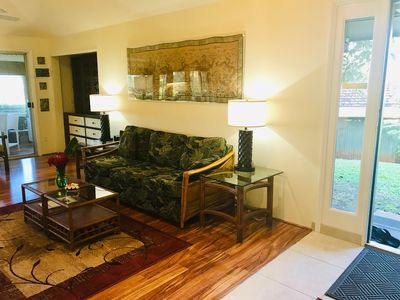 Queen sofa/bed, entertainment center, good lighting and bright spaces to relax.