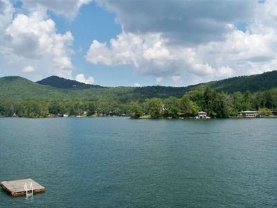 Floating dock, Lake Rabun and Sweater Girl mountain