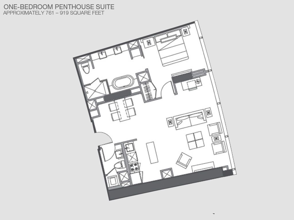 vdara 2 bedroom suite. Floor layout  Our penthouse is 919 sq ft Vdara Penthouse Suite the Best View In The HomeAway