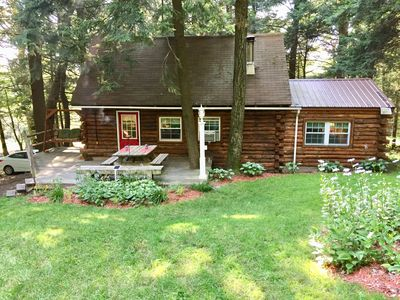 Photo for Charming Log Cabin w/ Jacuzzi Tub- 35 minutes from Cooperstown and Dreams Park