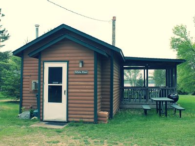 Photo for White Pine Cozy 1BR Sunset Lakefront Cabin w/ Private Launch and Dock