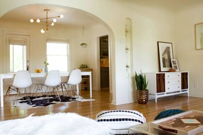Spacious, bright living and dining rooms